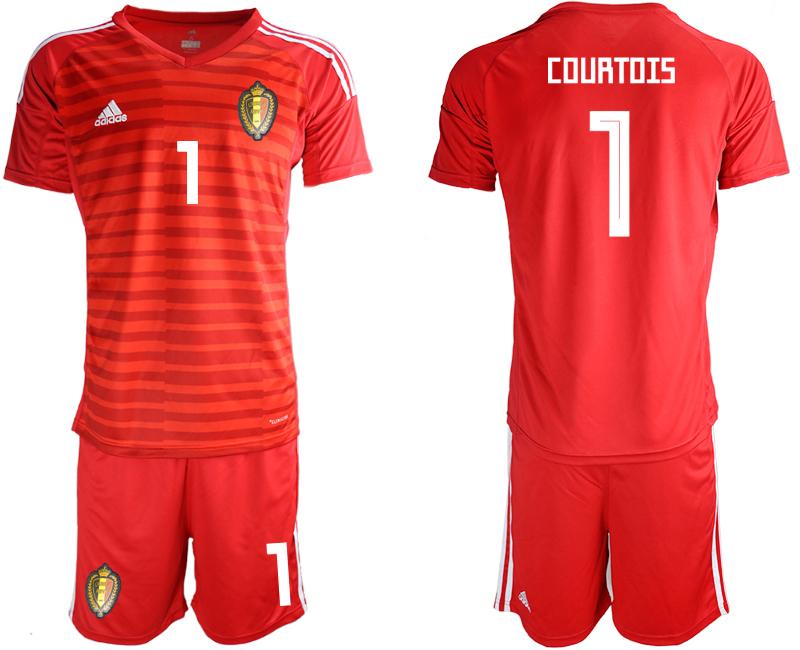 Belgium 1 COURTOIS Red 2018 FIFA World Cup Goalkeeper Soccer Jersey