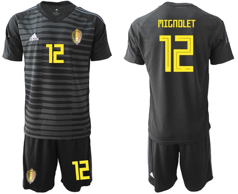 Belgium 12 MIGNOLET Black 2018 FIFA World Cup Goalkeeper Soccer Jersey