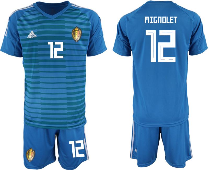 Belgium 12 MIGNOLET Blue 2018 FIFA World Cup Goalkeeper Soccer Jersey