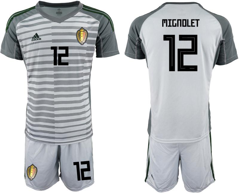 Belgium 12 MIGNOLET Gray 2018 FIFA World Cup Goalkeeper Soccer Jersey