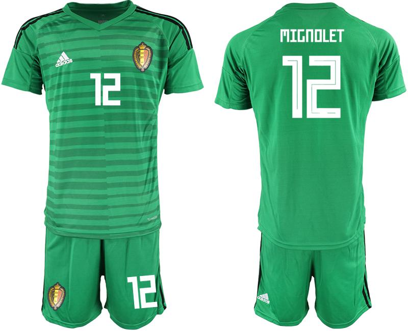Belgium 12 MIGNOLET Green 2018 FIFA World Cup Goalkeeper Soccer Jersey