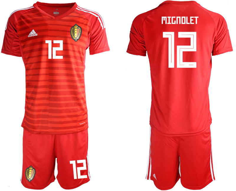 Belgium 12 MIGNOLET Red 2018 FIFA World Cup Goalkeeper Soccer Jersey