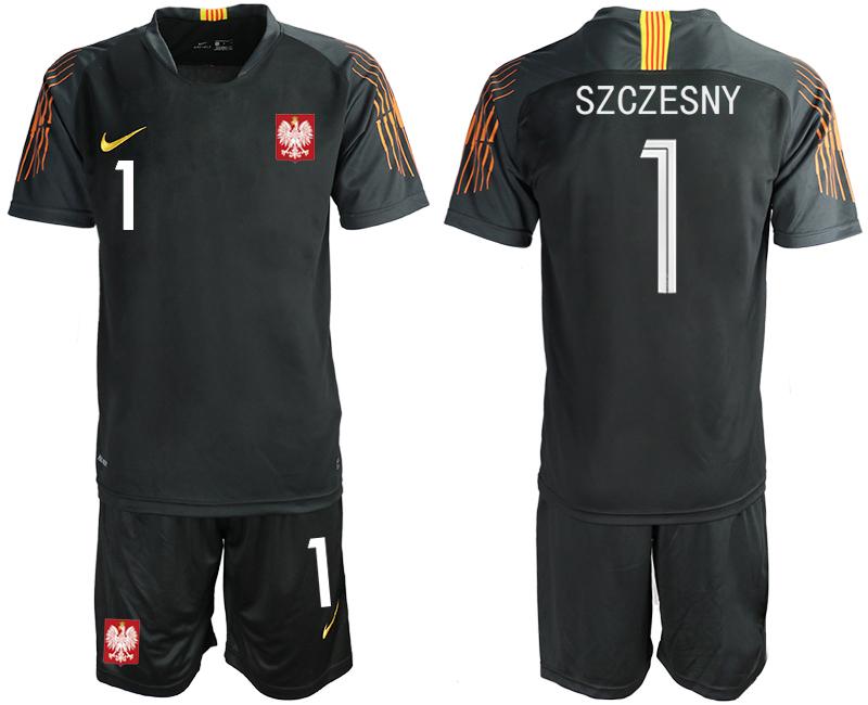 Poland 1 SZCZESNY Black 2018 FIFA World Cup Goalkeeper Soccer Jersey