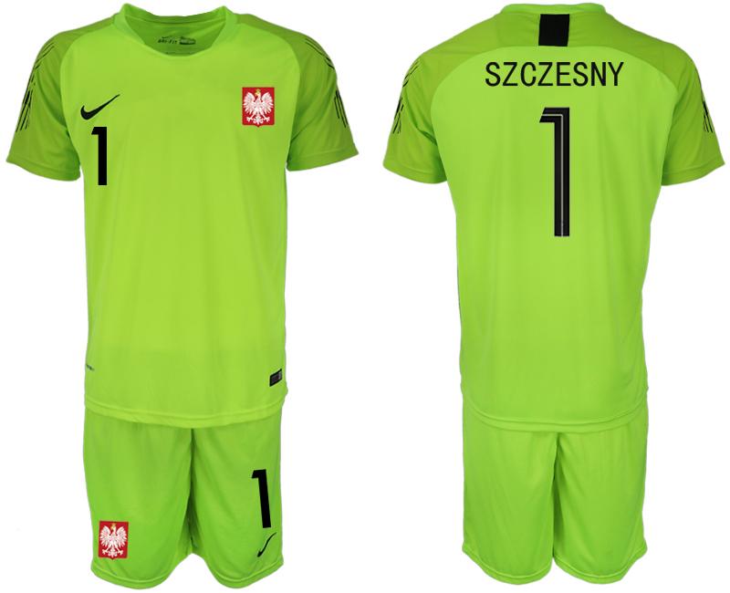 Poland 1 SZCZESNY Fluorescent Green 2018 FIFA World Cup Goalkeeper Soccer Jersey