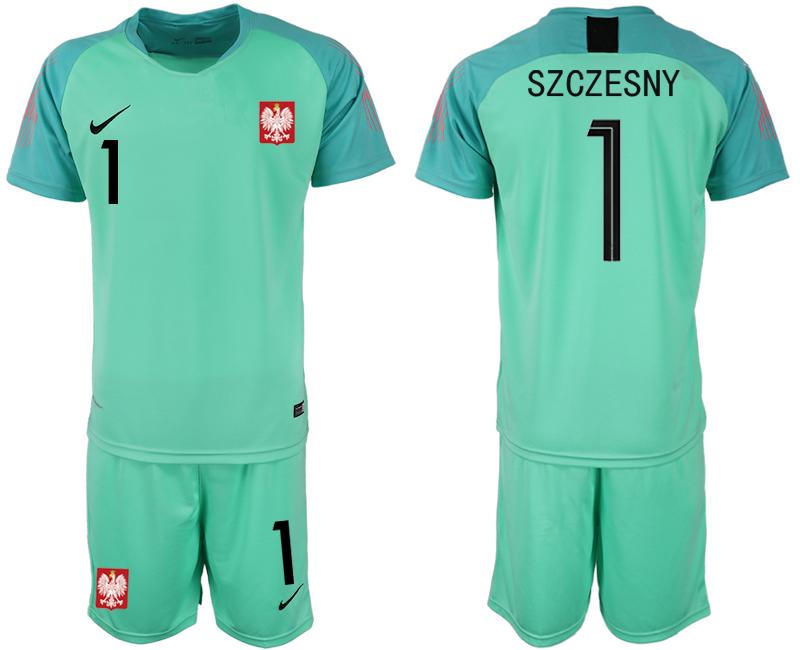 Poland 1 SZCZESNY Green 2018 FIFA World Cup Goalkeeper Soccer Jersey