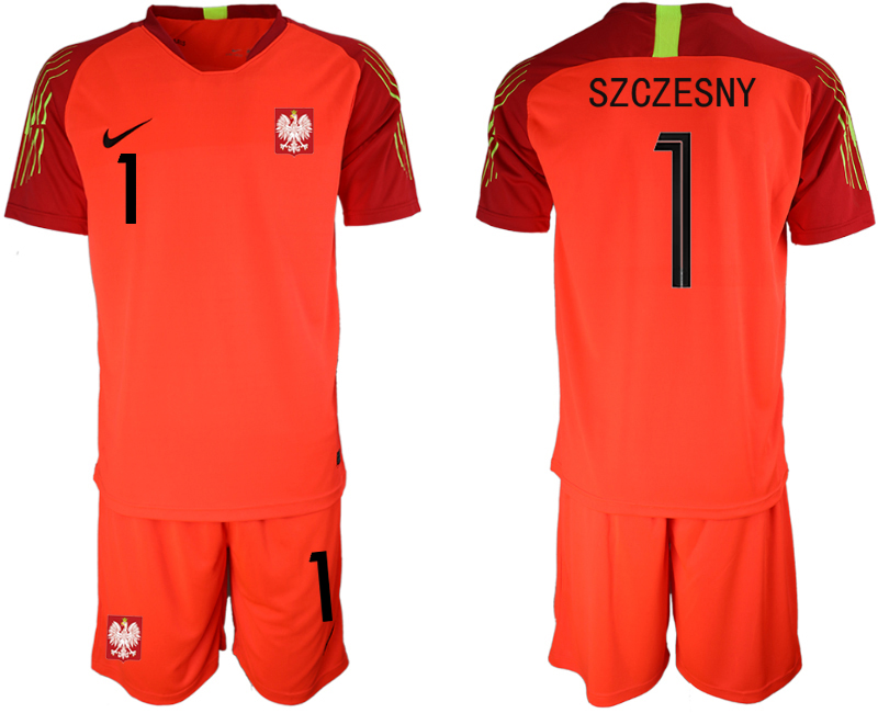 Poland 1 SZCZESNY Red 2018 FIFA World Cup Goalkeeper Soccer Jersey
