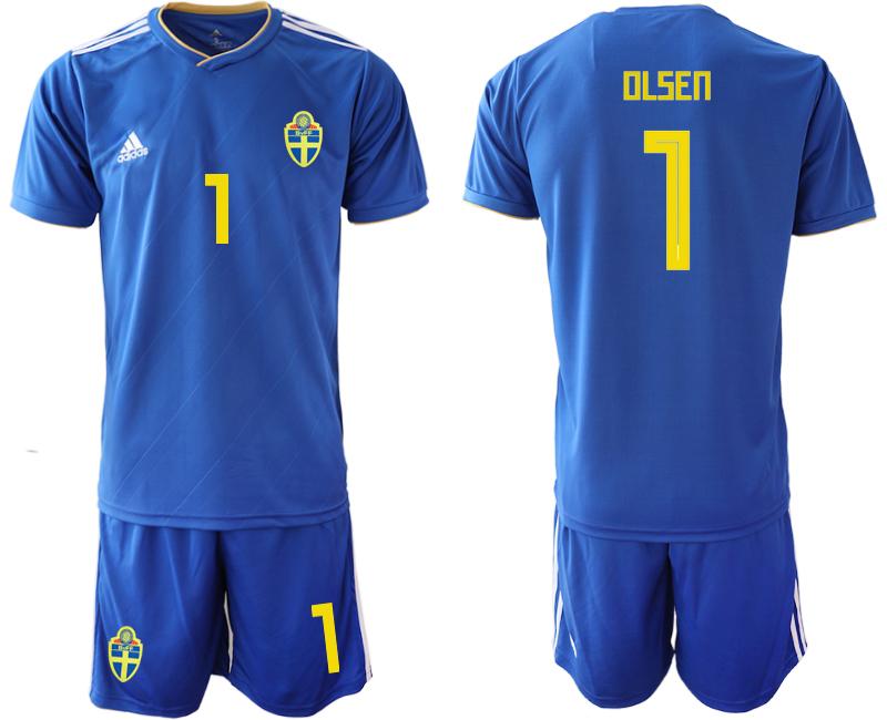 Sweden 1 OLSEN Away 2018 FIFA World Cup Soccer Jersey