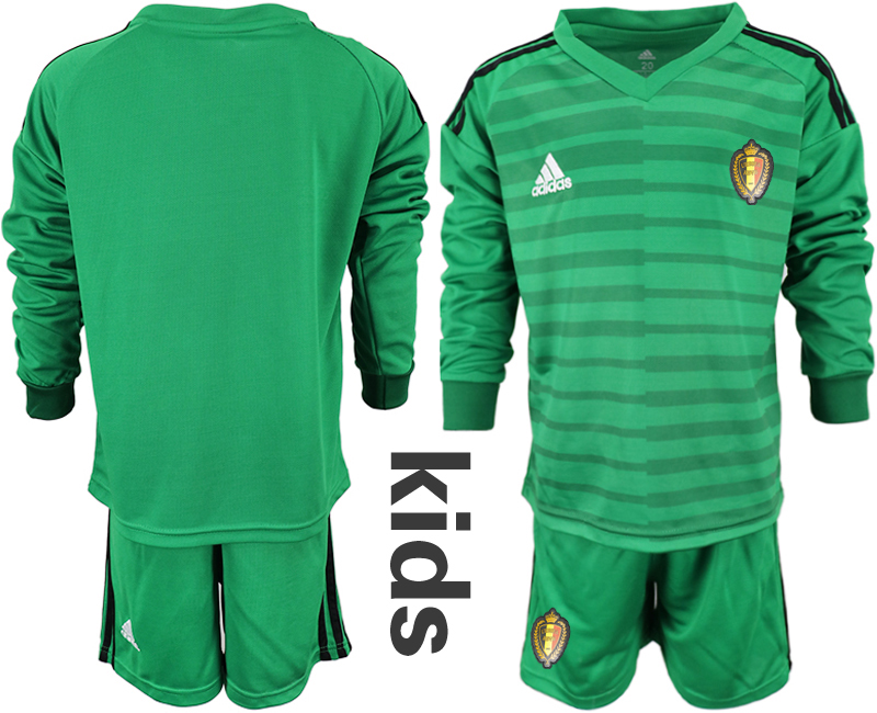 Belgium Green Youth 2018 FIFA World Cup Long Sleeve Goalkeeper Soccer Jersey