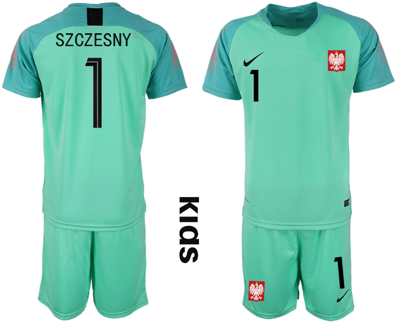 Poland 1 SZCZESNY Green Youth 2018 FIFA World Cup Goalkeeper Soccer Jersey