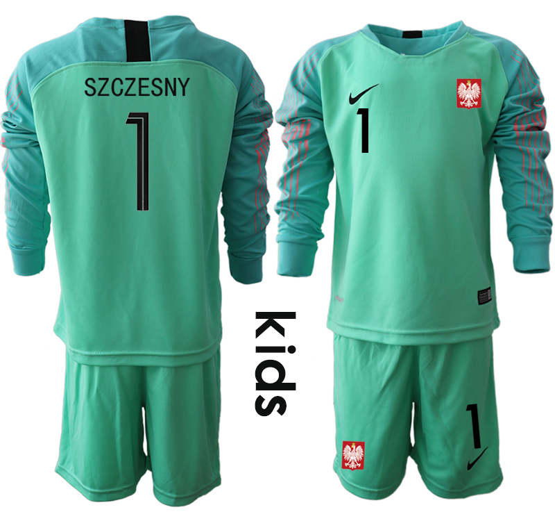 Poland 1 SZCZESNY Green Youth 2018 FIFA World Cup Long Sleeve Goalkeeper Soccer Jersey