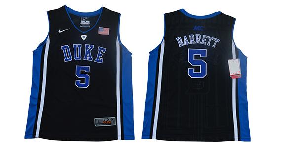 Duke Blue Devils 5 RJ Barrett Black Youth Nike College Basketball Jersey