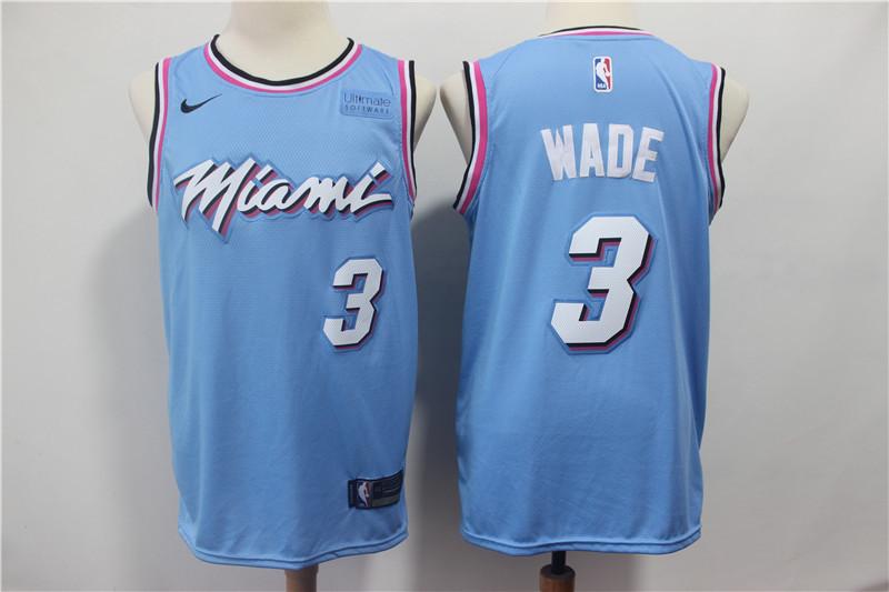 Heat 3 Dwyane Wade Light Blue Nike Swingman Jersey