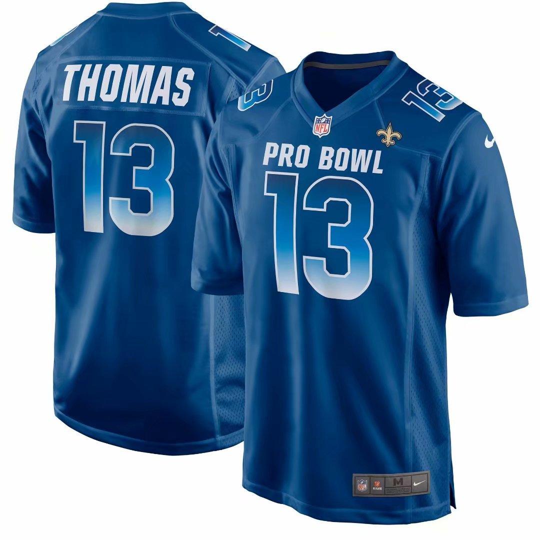 Nike NFC Saints 13 Michael Thomas Royal 2019 Pro Bowl Game Jersey