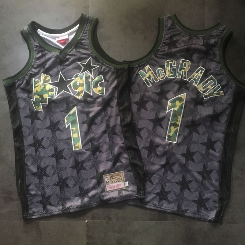 Magic 1 Tracy McGrady Black Camo Hardwood Classics Jersey 128283537