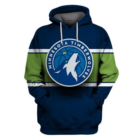 Timberwolves Navy All Stitched Hooded Sweatshirt
