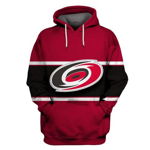 Hurricanes Red All Stitched Hooded Sweatshirt