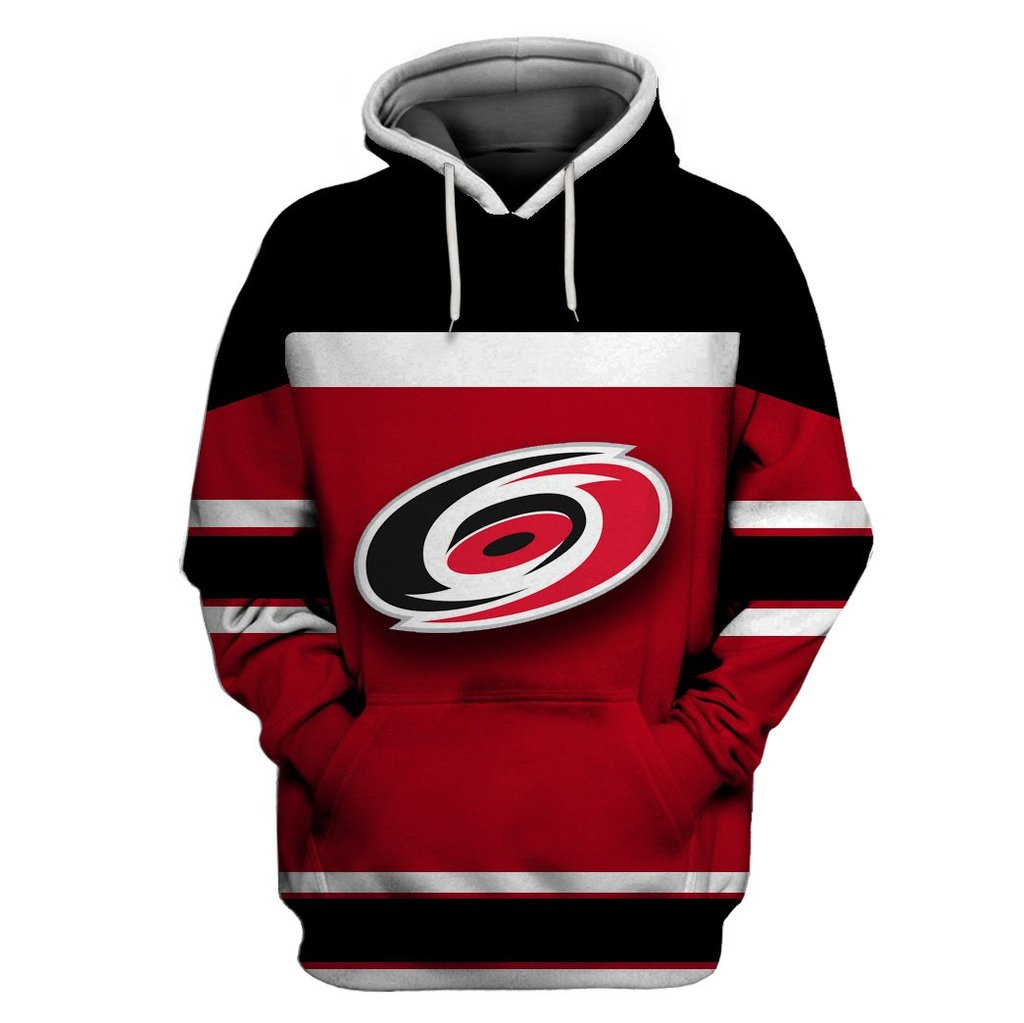 Hurricanes Red Black All Stitched Hooded Sweatshirt