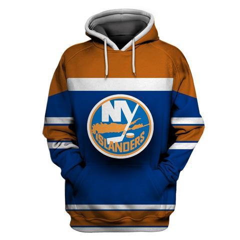 Islanders Blue All Stitched Hooded Sweatshirt