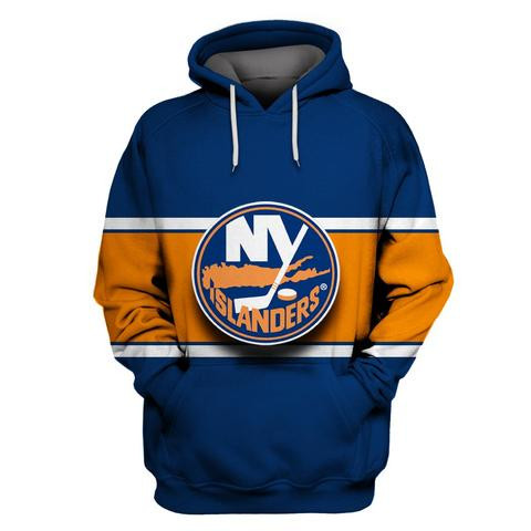 Islanders Blue Orange All Stitched Hooded Sweatshirt