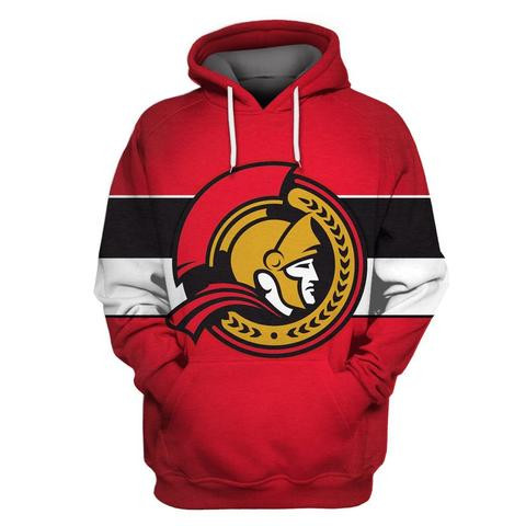 Senators Red All Stitched Hooded Sweatshirt