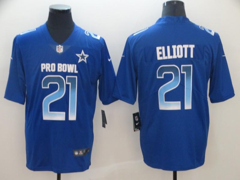 Nike NFC Cowboys 21 Ezekiel Elliott Royal 2019 Pro Bowl Limited Jersey
