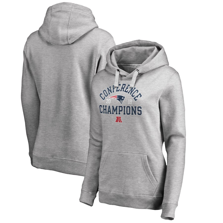 New England Patriots NFL Pro Line by Fanatics Branded Women's 2018 AFC Champions Scrimmage Pullover Hoodie Heather Gray
