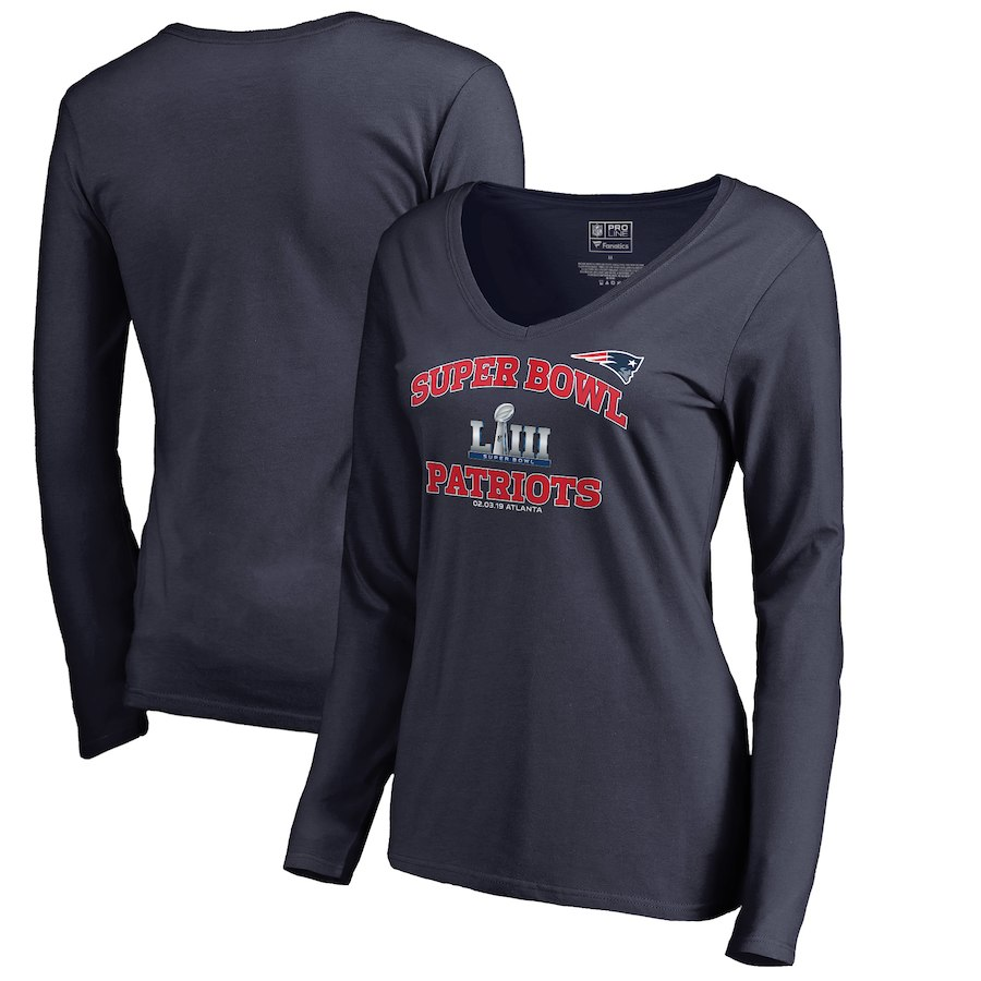 New England Patriots NFL Pro Line by Fanatics Branded Women's Super Bowl LIII Bound Heart and Soul Long Sleeve V Neck T-Shirt Navy