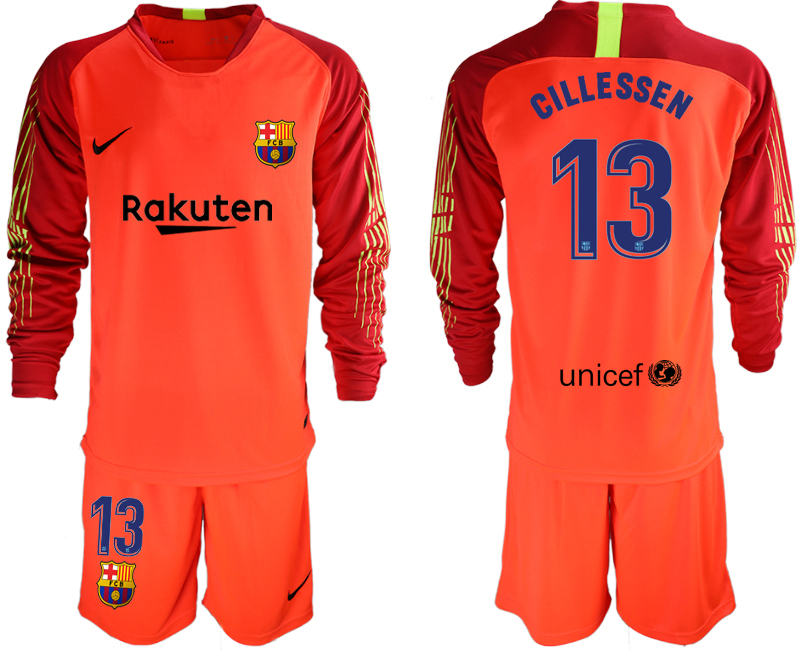 2018-19 Barcelona 13 CILLESSEN Red Long Sleeve Soccer Jersey