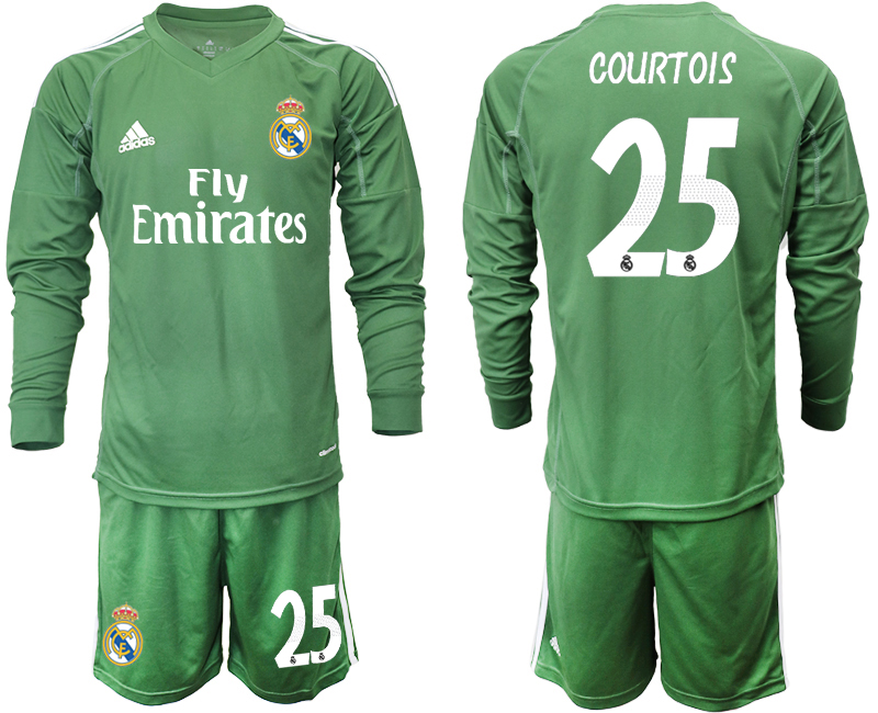 2018-19 Real Madrid 25 COUTOIS Army Green Long Sleeve Goalkeeper Soccer Jersey