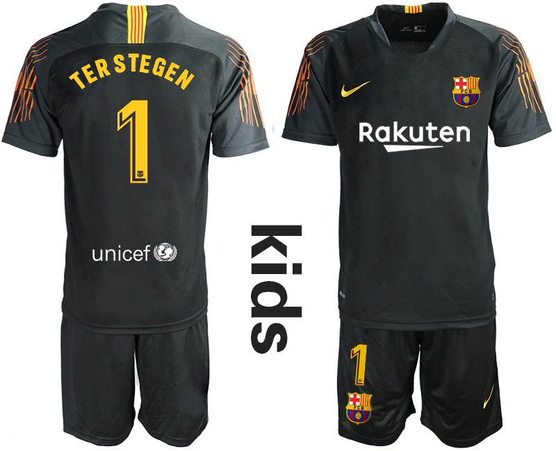 2018-19 Barcelona 1 TER STEGEN Black Youth Goalkeeper Soccer Jersey