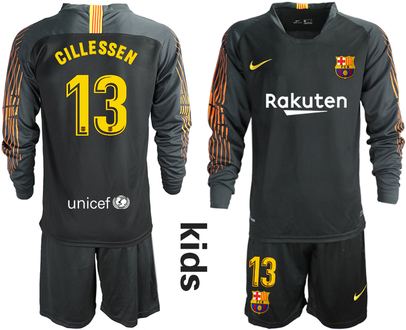2018-19 Barcelona 13 CILLESSEN Black Long Sleeve Goalkeeper Soccer Jersey