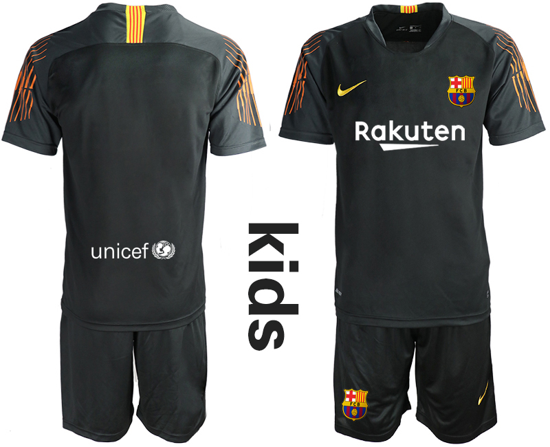 2018-19 Barcelona Black Youth Goalkeeper Soccer Jersey