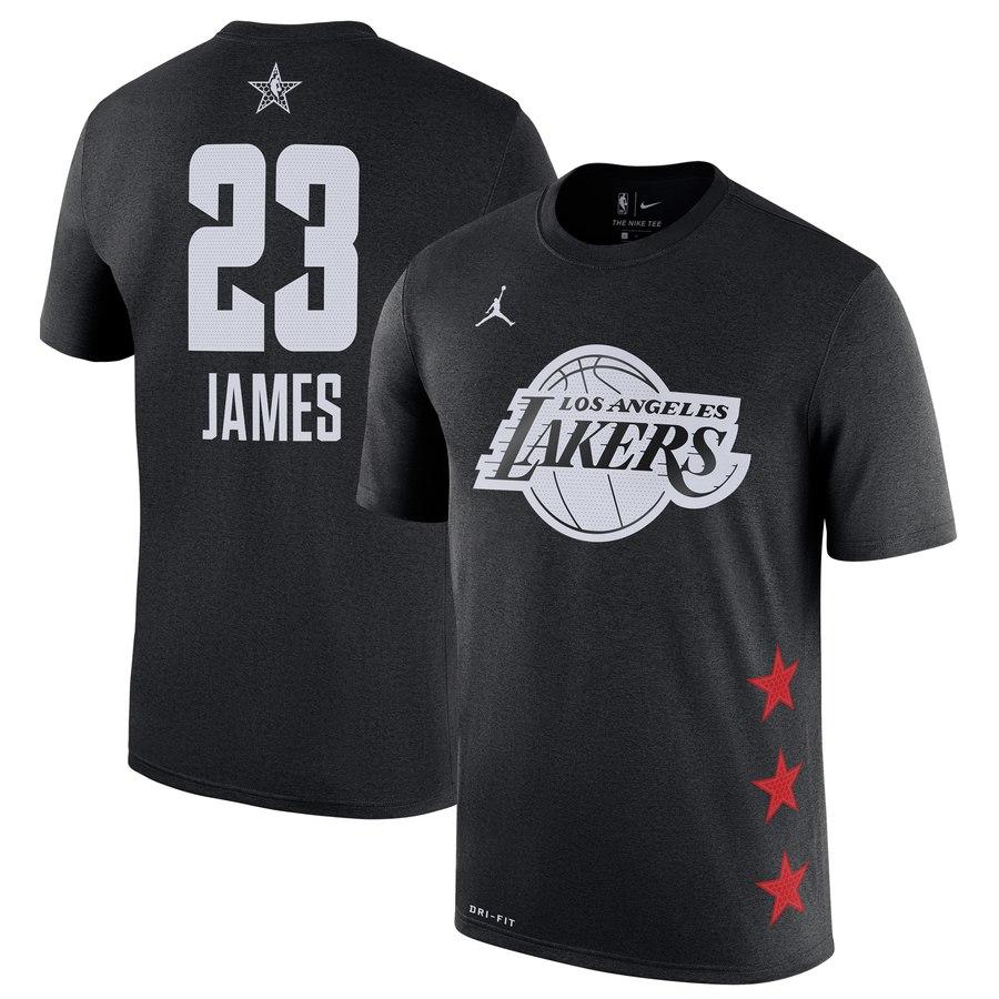 Lakers 23 Lebron James Black 2019 NBA All-Star Game Men's T-Shirt