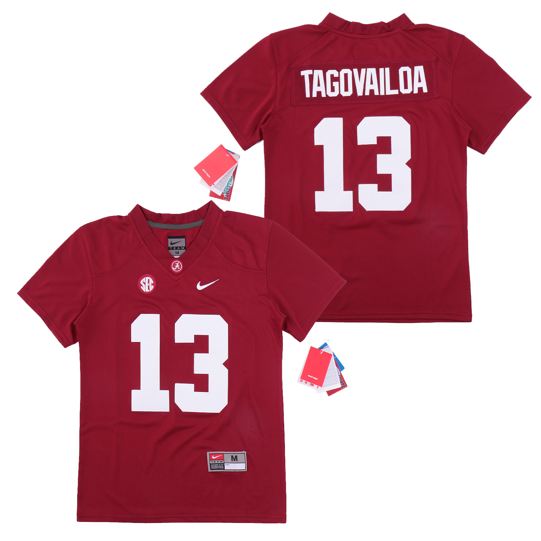 Alabama Crimson Tide 13 Tua Tagovailoa Red Youth College Football Jersey