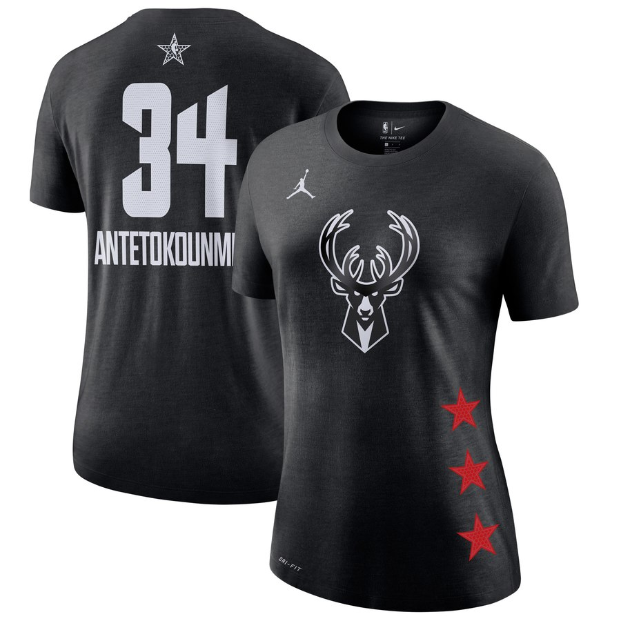 Bucks 34 Giannis Antetokounmpo Black 2019 NBA All-Star Game Women's T-Shirt