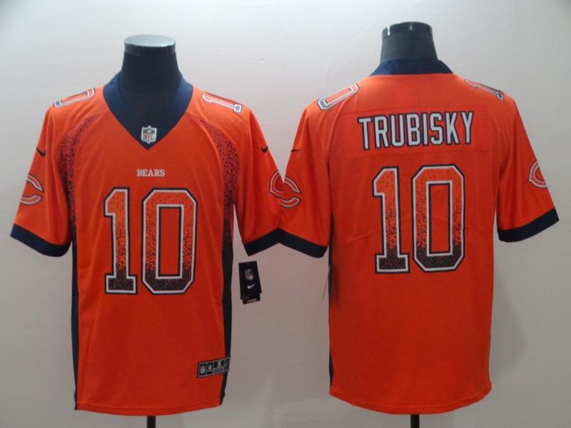 Nike Bears 10 Mitchell Trubisky Orange Drift Fashion Limited Jersey
