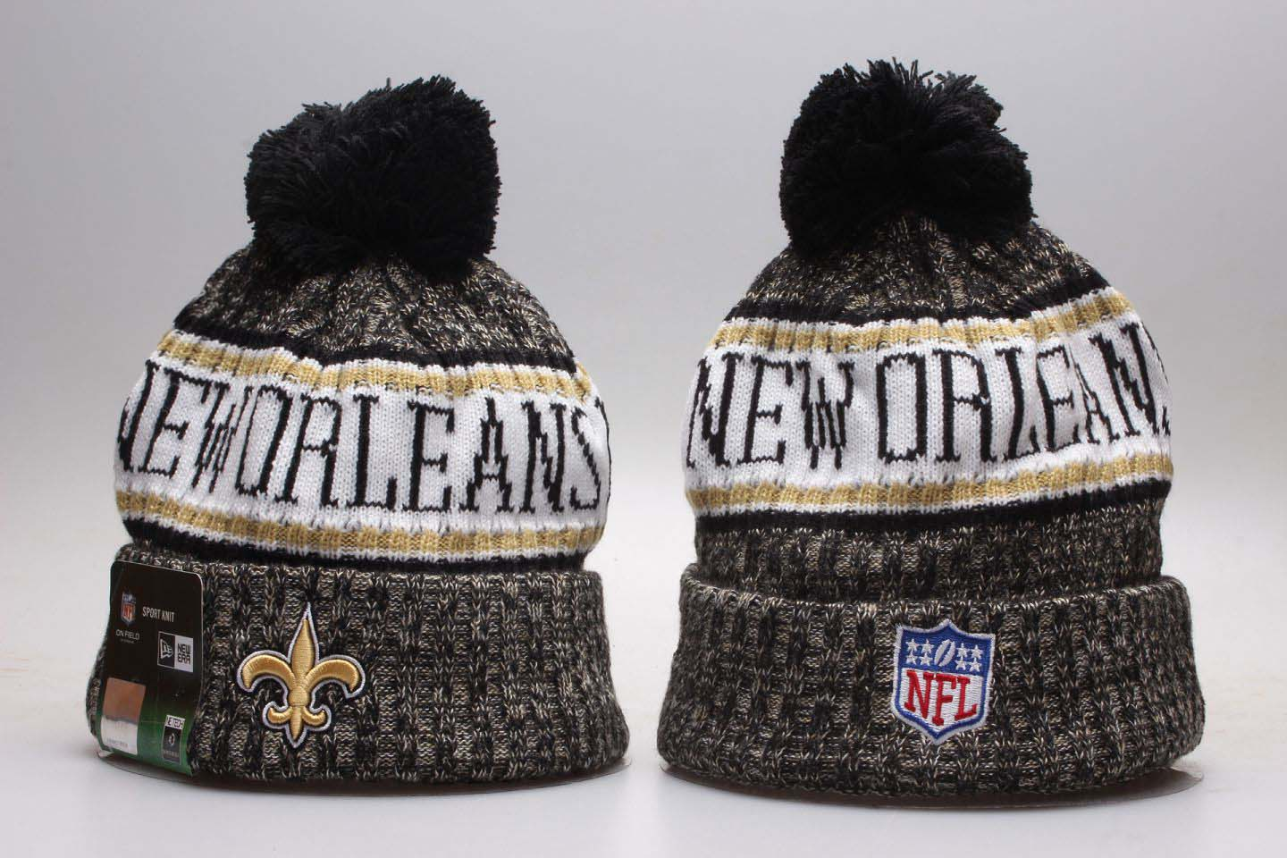 0d2755228c9 Saints Black 2018 NFL Sideline Cold Weather Knit Hat YP