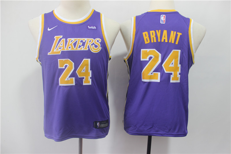 Lakers 24 Kobe Bryant Purple 2018-19 Youth Nike Swingman Jersey