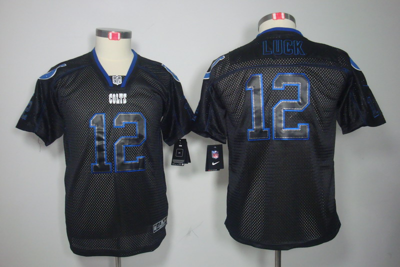 Nike Colts 12 Andrew Luck Black Shadow Youth Limited Jersey