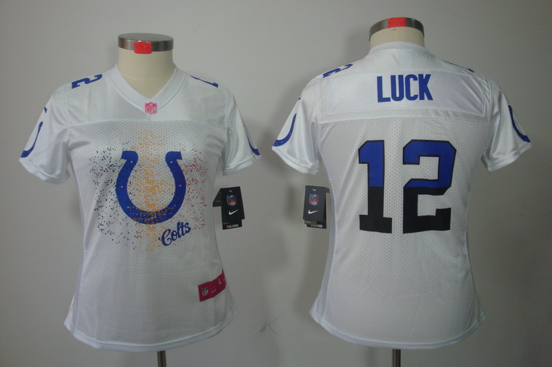 Nike Colts 12 Andrew Luck White Fem Fan Women Limited Jersey