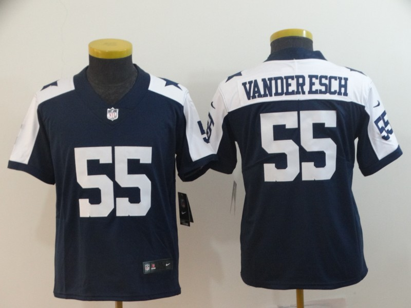 Nike Cowboys 55 Leighton Vander Esch Navy Alternate Youth Vapor Untouchable Limited Jersey