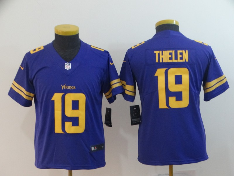 Nike Vikings 19 Adam Thielen Purple Youth Color Rush Limited Jersey