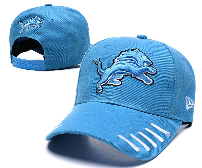 Lions Team Logo Blue Peaked Adjustable Hat LH