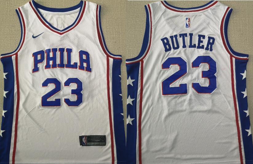 a88e2c982 76ers 23 Jimmy Butler White Nike Swingman Jersey