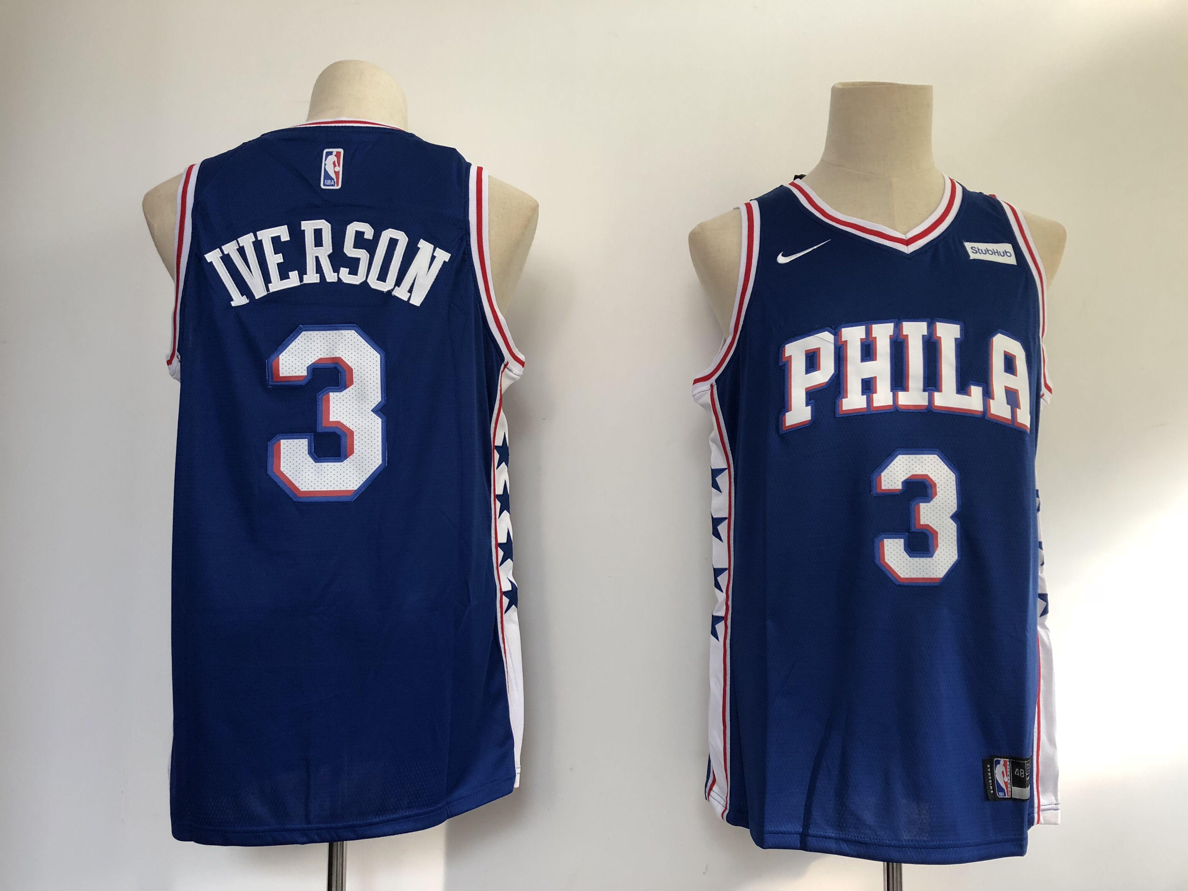 76ers 3 Allen Iverson Blue Nike Swingman Jersey