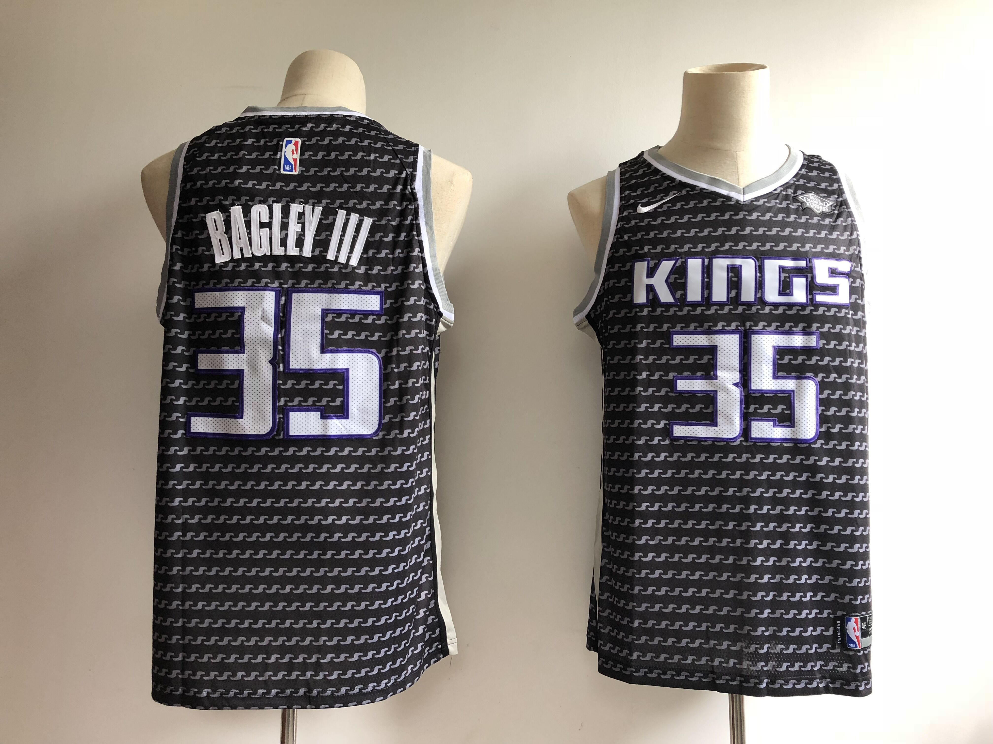 Kings 35 Marvin Bagley III Black Nike Swingman Jersey