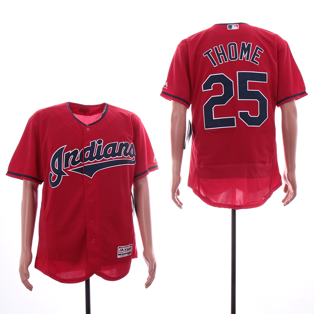 Indians 25 Jim Thome Red Flexbase Jersey