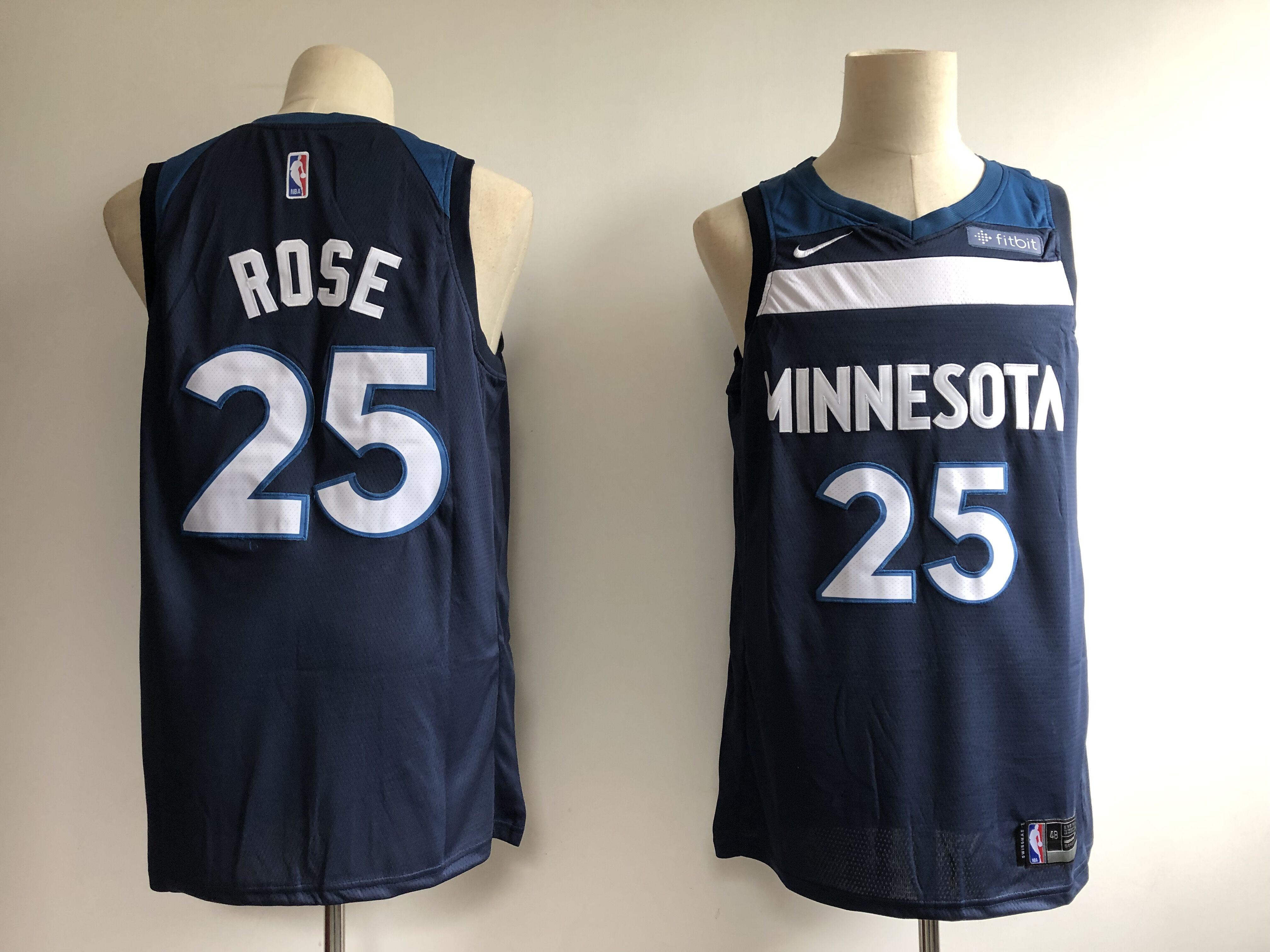 Timberwolves 25 Derrick Rose Navy Nike Swingman Jersey