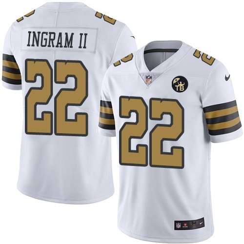 Nike Saints 22 Mark Ingram II White With Tom Benson Patch Color Rush Limited Jersey