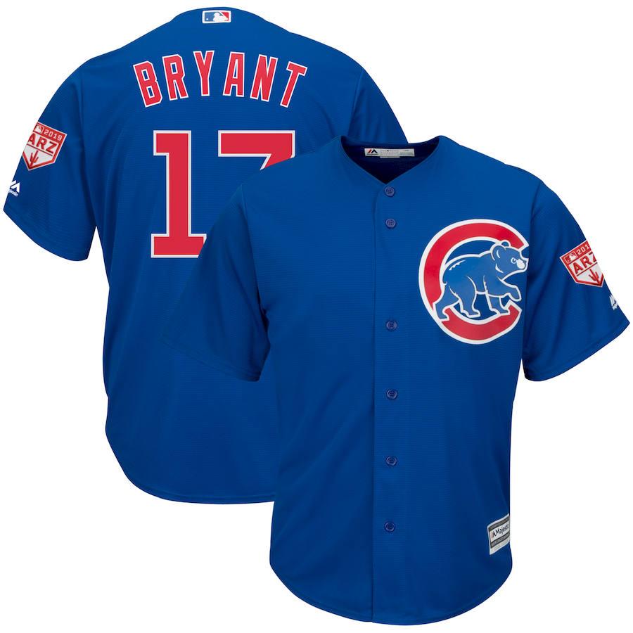 Cubs 17 Kris Bryant Royal 2019 Spring Training Cool Base Jersey